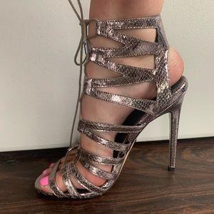Topshop lace up metallic heels
